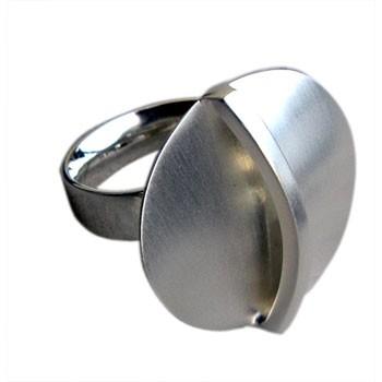 verstellbarer Silberring, feinmatt