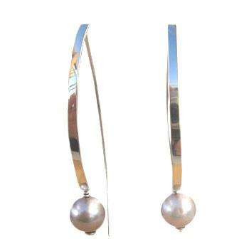 Ohrhänger Silber mit Zuchtperle,grau
