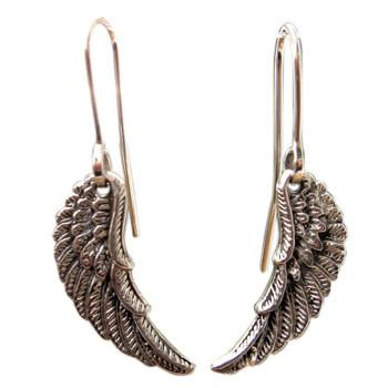 Ohrhänger, Flügel, Silber,geschwärzt