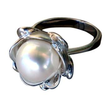 Blütenring, Silber, Zuchtperle