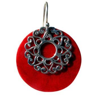 Ohrhänger Koralle Silber Durchmesser 35mm