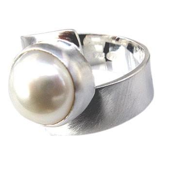 verstellbarer Silberring mit Perle,