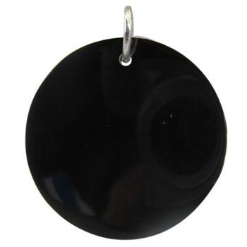 Hänger schwarze Muschel mit Biegering Durchmesser 25mm