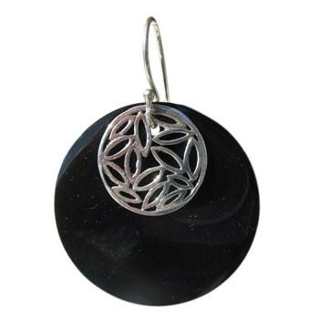 Ohrhänger, Schwarze Muschel, Silber Durchmesser 35mm