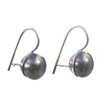 Ohrhänger, Silber mit Zuchtperle,grau