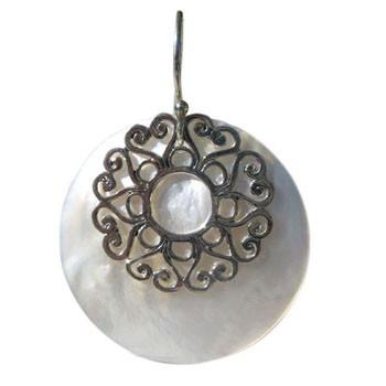 Ohrhänger, Perlmutt, Silber Durchmesser 35mm