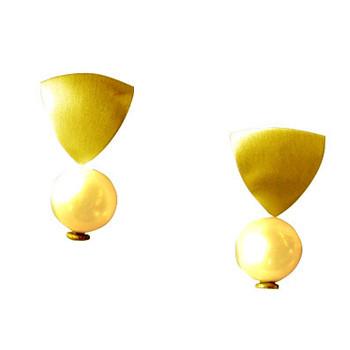 Ohrstecker, Silber,vergoldet mit Perle