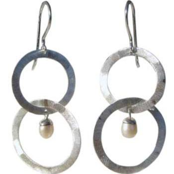 2-teiliger Ohrhänger mit Perle ca. 40 x 22 mm