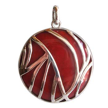 Silberanhänger mit Red Coral
