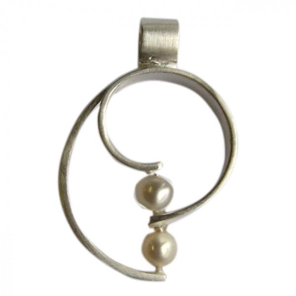 Silberanhänger mit 2 Perlen